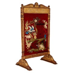 Neoclassical Style Giltwood Firescreen with Embroidery