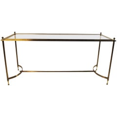 Neoclassical Style Glass Brass Console Table Maison Jansen Style