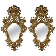 Neoclassical Style Gold Foil Hand Carved Wooden Pair of Mirrors, Spain, 1970
