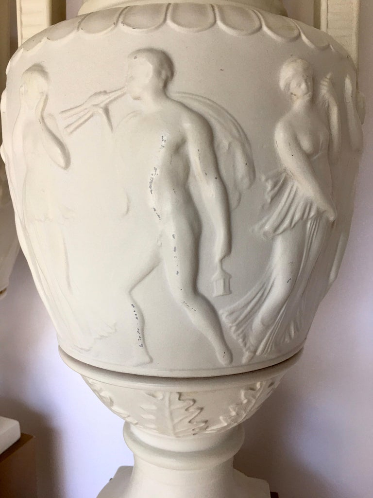 Neoclassical Style Greek Figural Urn Table Lamps, Pair For Sale 6