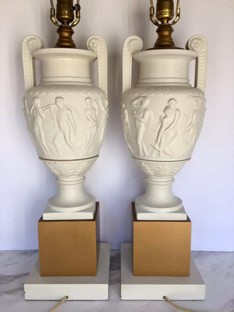 Neoclassical Style Greek Figural Urn Table Lamps, Pair In Good Condition For Sale In Lambertville, NJ