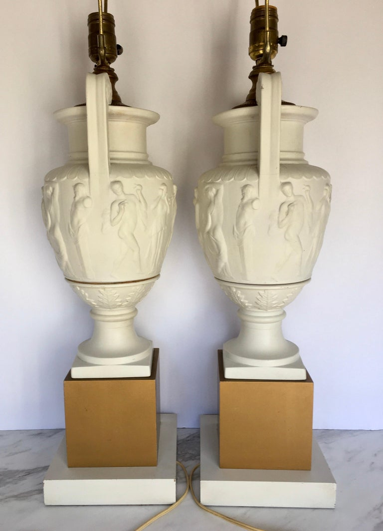 Mid-20th Century Neoclassical Style Greek Figural Urn Table Lamps, Pair For Sale