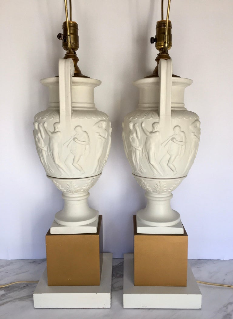 Metal Neoclassical Style Greek Figural Urn Table Lamps, Pair For Sale