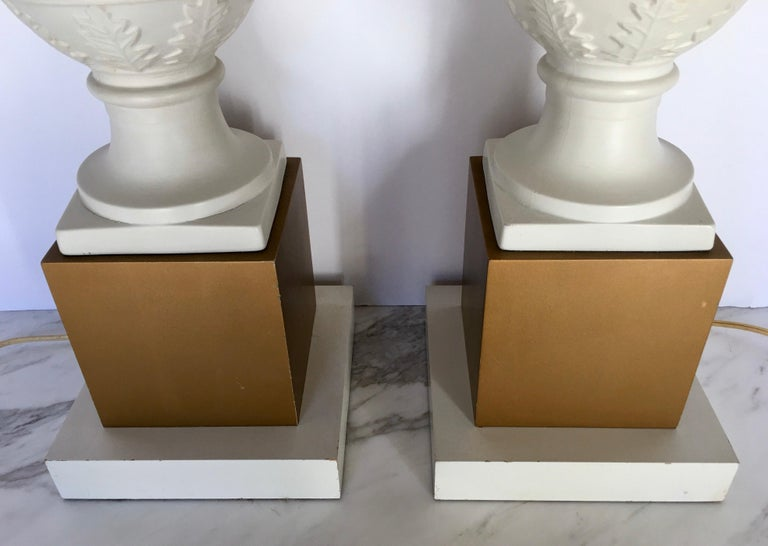 Neoclassical Style Greek Figural Urn Table Lamps, Pair For Sale 1