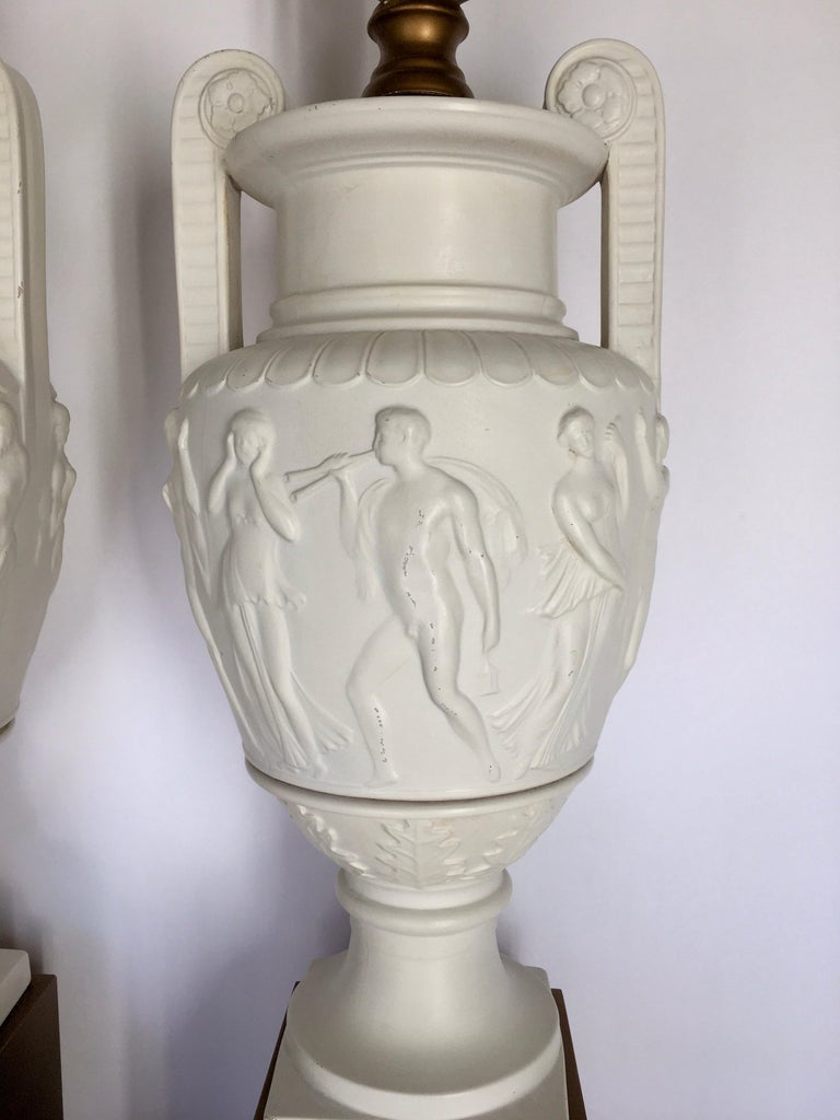 Neoclassical Style Greek Figural Urn Table Lamps, Pair For Sale 3