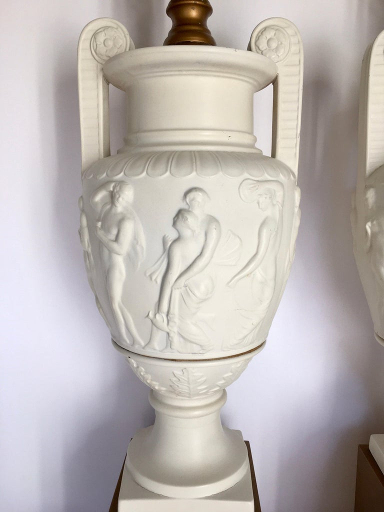 Neoclassical Style Greek Figural Urn Table Lamps, Pair For Sale 4