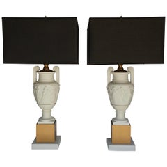 Neoclassical Style Greek Figural Urn Table Lamps, Pair