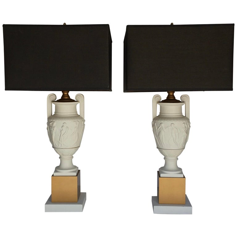 Neoclassical Style Greek Figural Urn Table Lamps, Pair For Sale