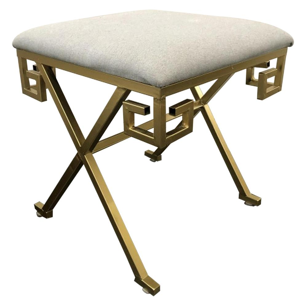Neoclassical Style Greek Key X-Base Vanity / Bench