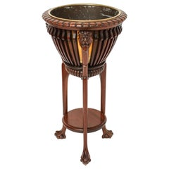 Neoclassical Style Hardwood Jardinière with Lion Motif