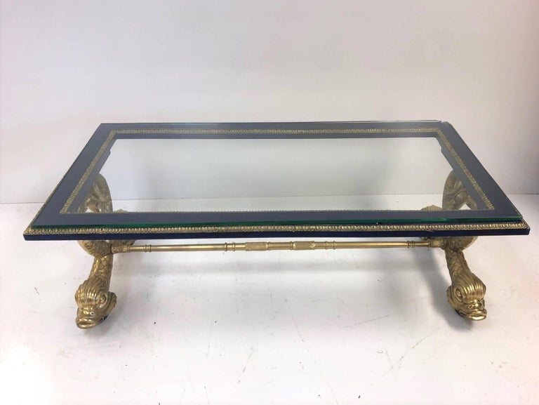 Neoclassical Style Italian Carved Wood Dolphin Coffee Table In Good Condition For Sale In New York, NY