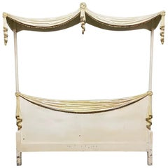 Neoclassical Style Italian Hand Carved Draped Headboard