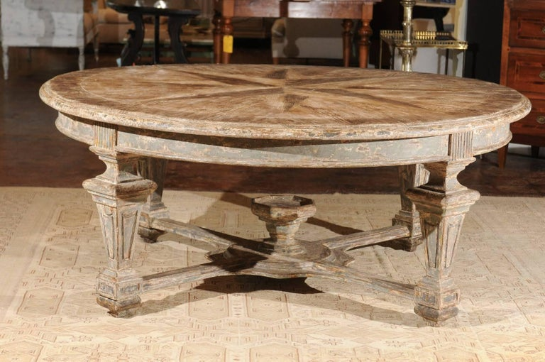 Neoclassical Style Italian Painted Round Dining Table With