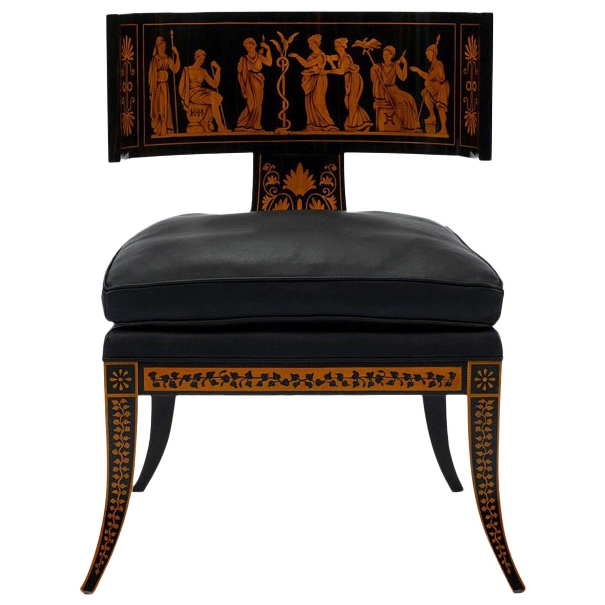 Neoclassical Style Klismos Leather Chair