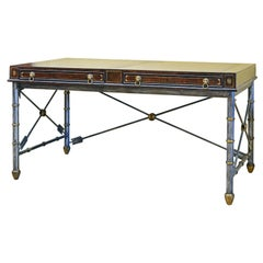 Neoclassical Style Leather Lined Desk on Arrow Metal Base by Maitland Smith