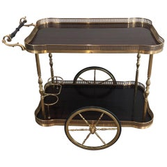 Neoclassical Style Mahogany and Brass Drinks Trolley, French, circa 1940