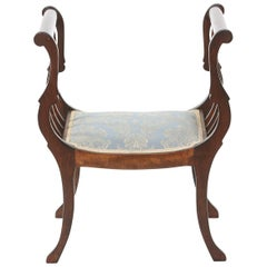 Neoclassical Style Mahogany Wood Bench