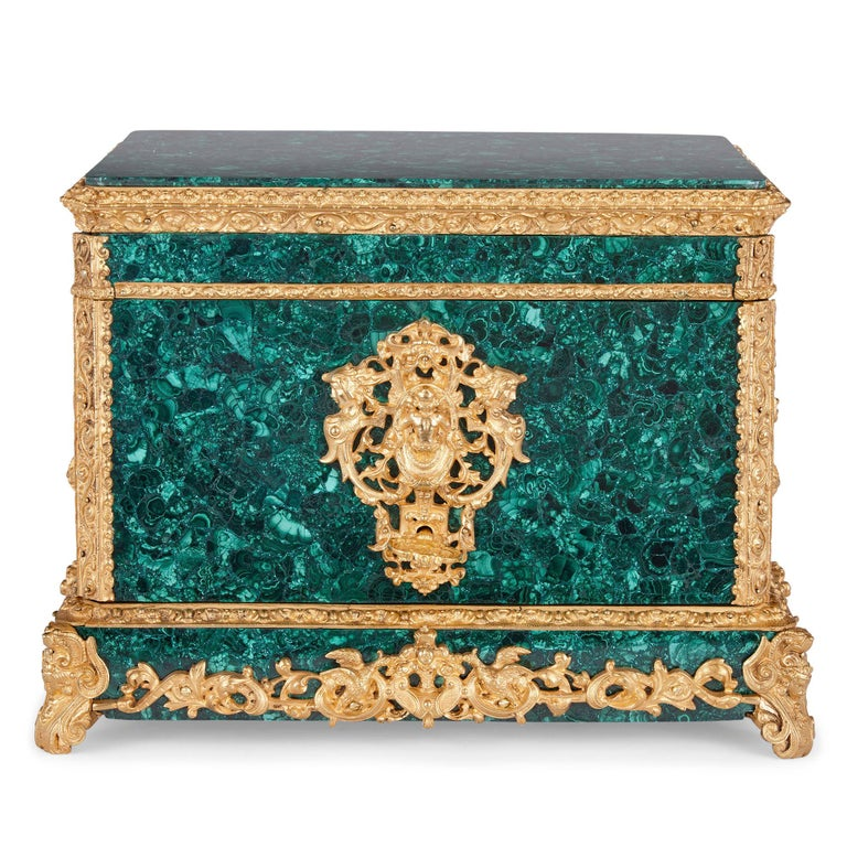 Neoclassical style malachite and gilt bronze jewelry casket