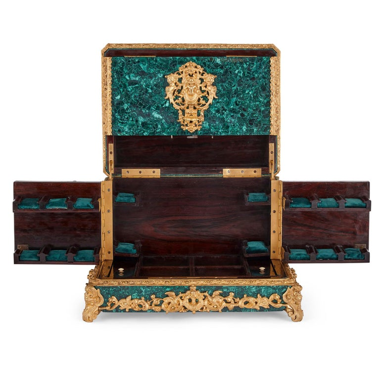 French Neoclassical Style Malachite and Gilt Bronze Jewelry Casket For Sale