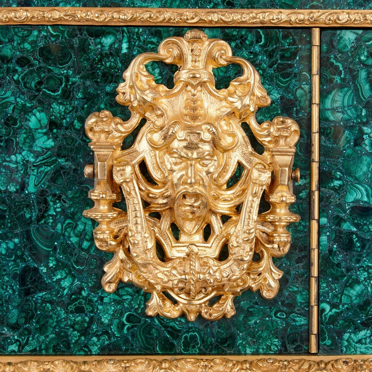 Neoclassical Style Malachite and Gilt Bronze Jewelry Casket For Sale 1
