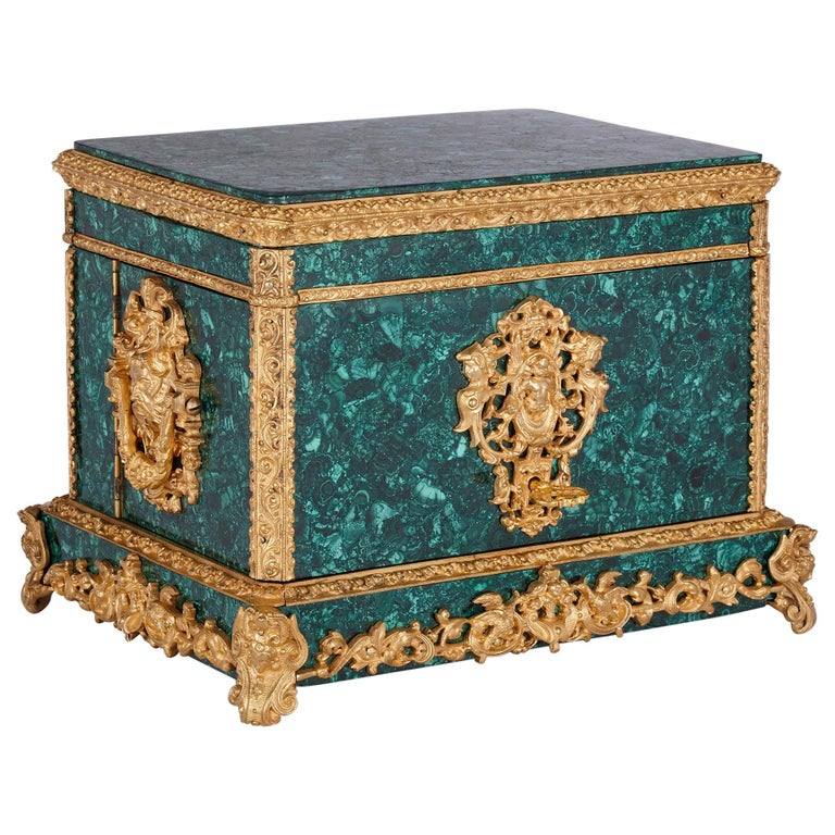 Neoclassical Style Malachite and Gilt Bronze Jewelry Casket For Sale