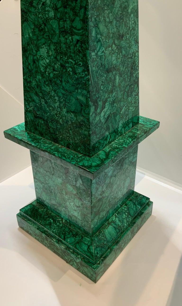 Unknown Neoclassical Style Malachite Obelisk For Sale