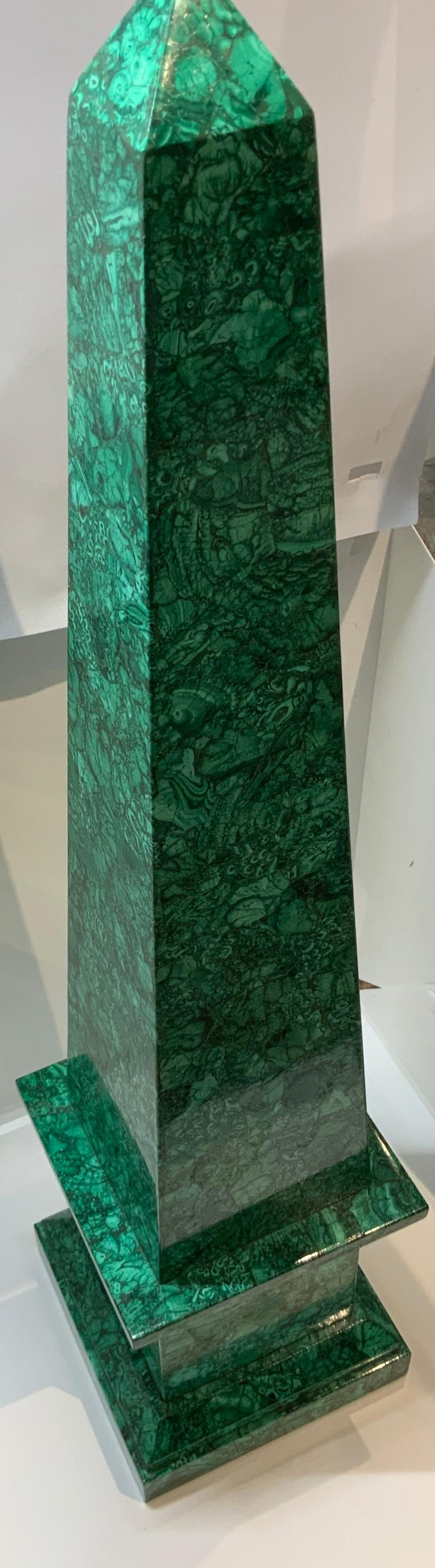 Hand-Crafted Neoclassical Style Malachite Obelisk For Sale