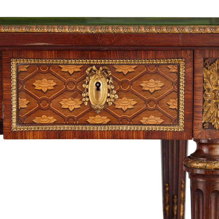 Louis XVI Neoclassical Style Marquetry and Gilt Bronze Writing Desk by Grohé For Sale