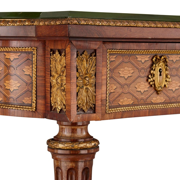 French Neoclassical Style Marquetry and Gilt Bronze Writing Desk by Grohé For Sale