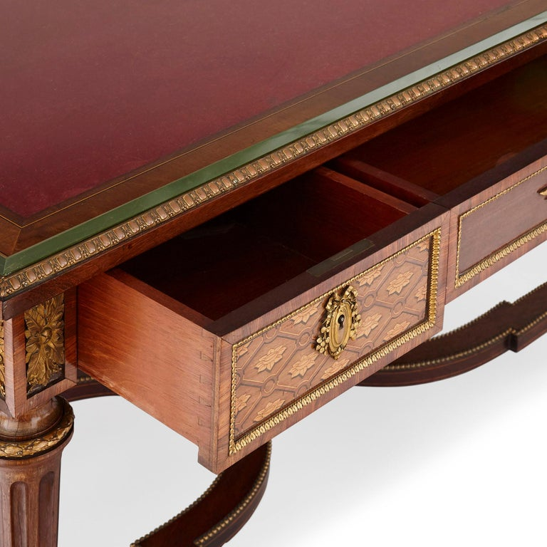 Neoclassical Style Marquetry and Gilt Bronze Writing Desk by Grohé In Good Condition For Sale In London, GB