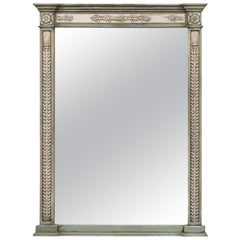 Neoclassical Style Mirror Made from 1750s French Door Frames with Carved Decor