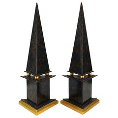 Neoclassical Style Obelisks in Marbled Paper and Gold Foil