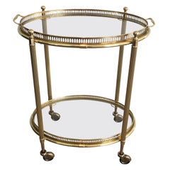 Neoclassical Style Oval Bar Cart with Removable Trays, French, circa 1940