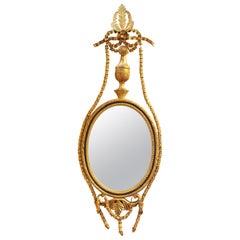 Neoclassical Style Oval Girandole Wall Mirror