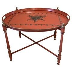 Neoclassical Style Oval Tole Tray Table