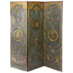 Neoclassical Style Painted and Decorated Three Panel Folding Wall Screen 19th C.