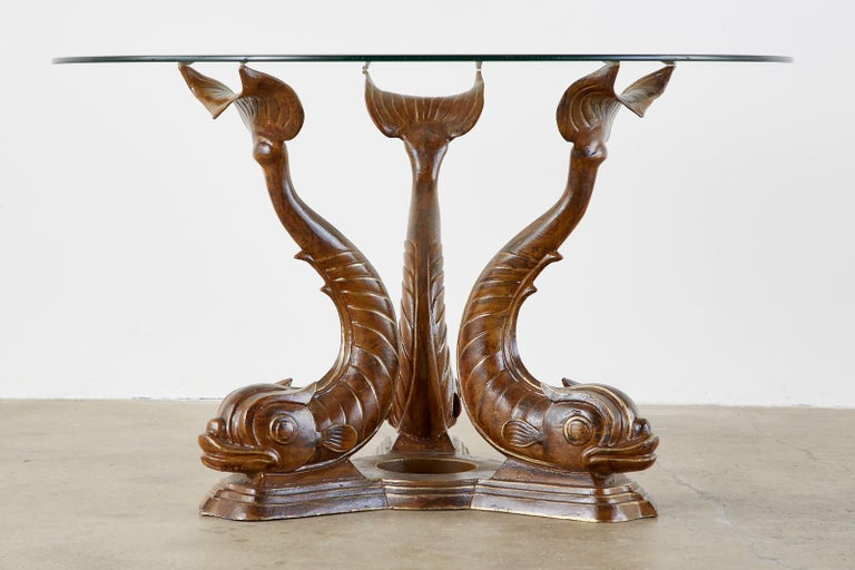 20th Century Neoclassical Style Painted Dolphins Dining or Center Table For Sale