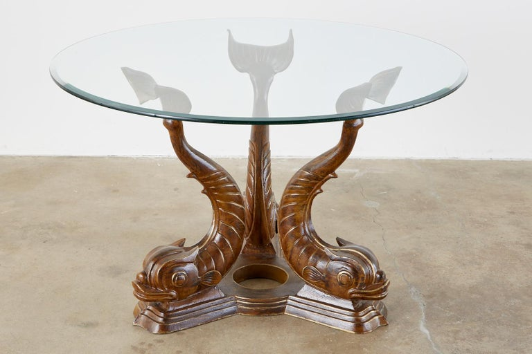 Neoclassical Style Painted Dolphins Dining or Center Table For Sale 1