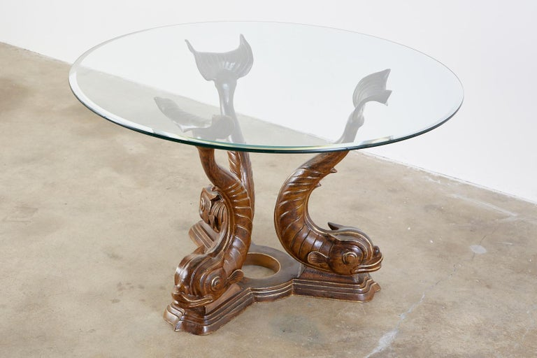 Neoclassical Style Painted Dolphins Dining or Center Table For Sale 3