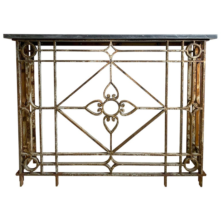 Neoclassical Style Painted  Wrought-Iron Console with Slate Top For Sale
