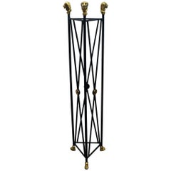 Neoclassical Style Pedestal Iron Stand with Lion Brass Heads & Paw Feet