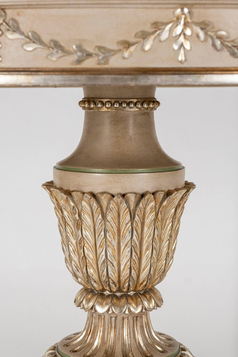 Neoclassical Style Polychrome Giltwood Center Table For Sale 1