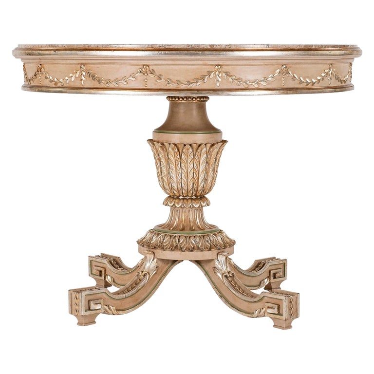 Neoclassical Style Polychrome Giltwood Center Table For Sale