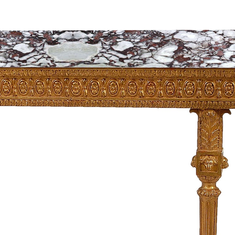 Neoclassical Style Rectangular Gold Foil Calacatta Viola Marble Spanish Console In Good Condition For Sale In Madrid, ES
