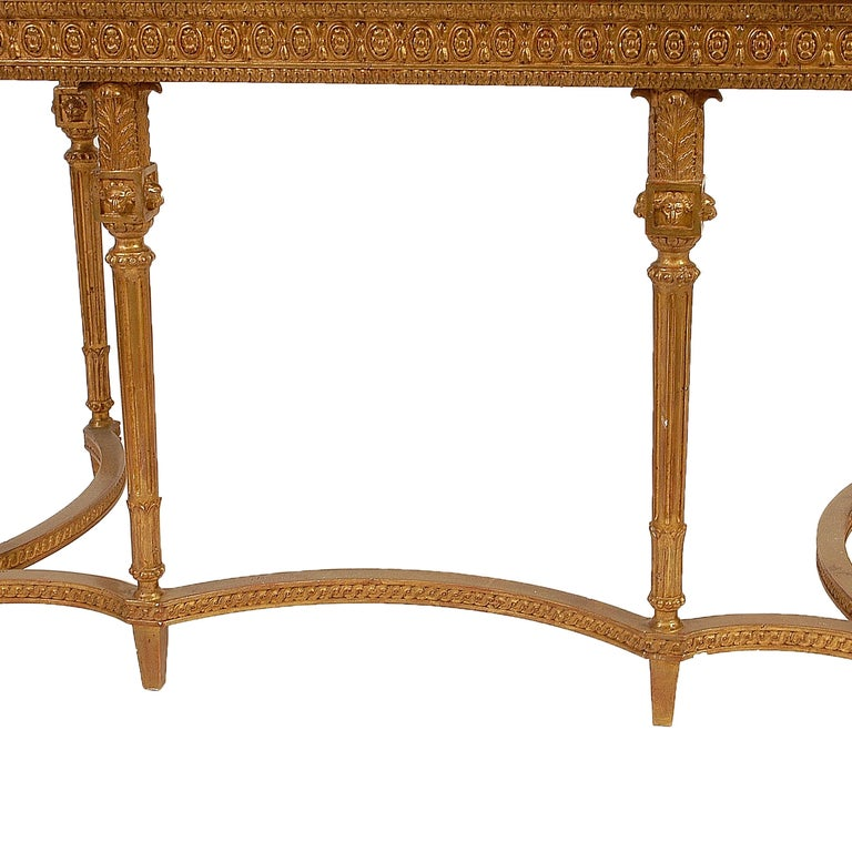 Gold Leaf Neoclassical Style Rectangular Gold Foil Calacatta Viola Marble Spanish Console For Sale