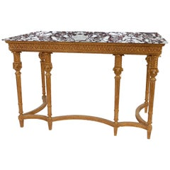Neoclassical Style Rectangular Gold Foil Calacatta Viola Marble Spanish Console