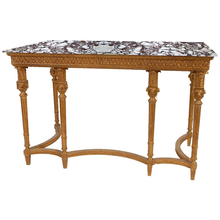 Neoclassical Style Rectangular Gold Foil Calacatta Viola Marble Spanish Console For Sale