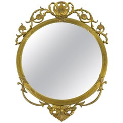 Neoclassical Style Round Wall Mirror in Bronze