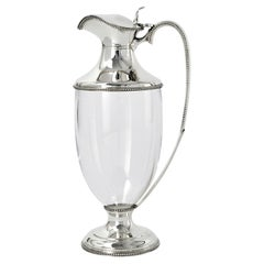 Neoclassical Style Silver & Glass Wine Jug