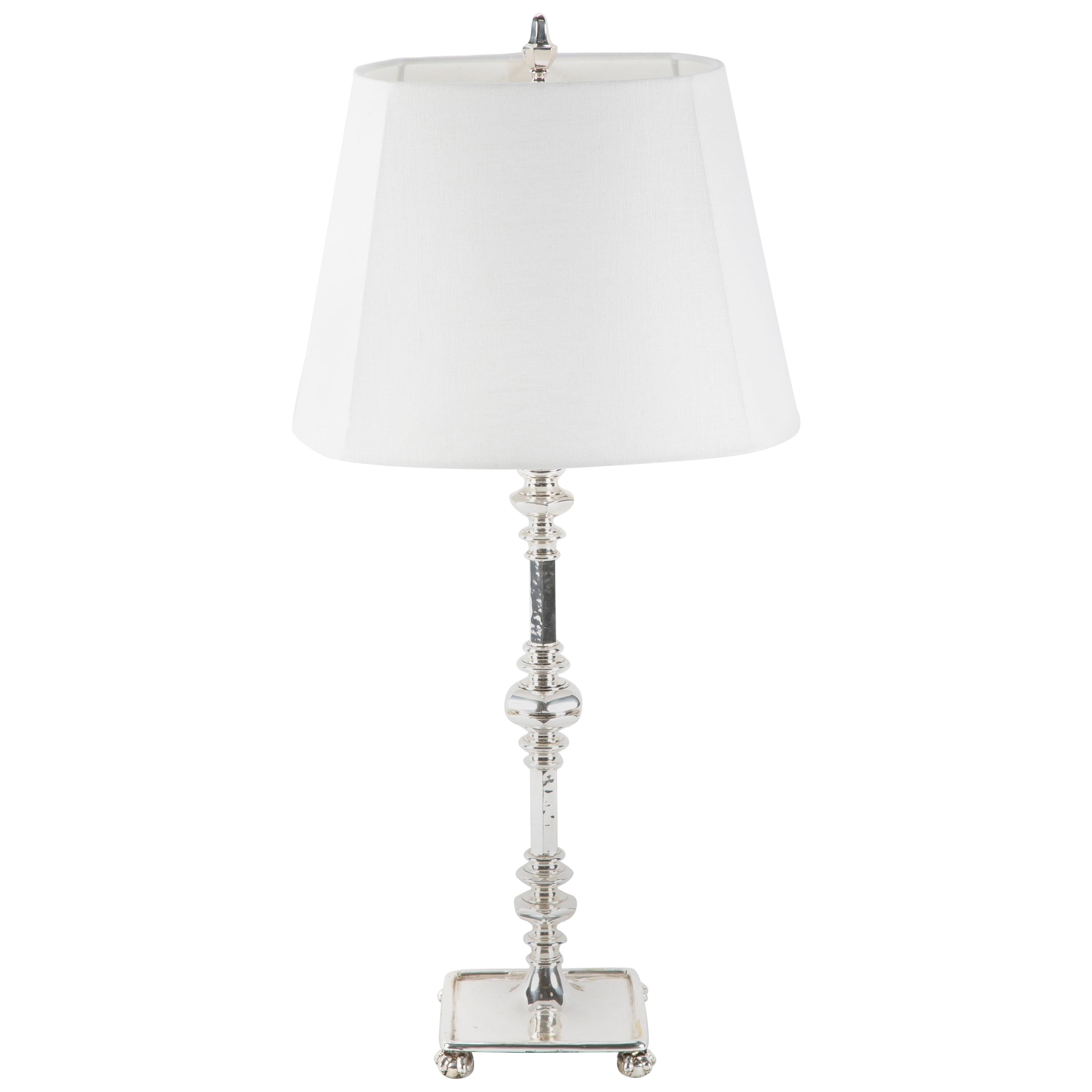 Neoclassical Style Silvered Bronze Table Lamp